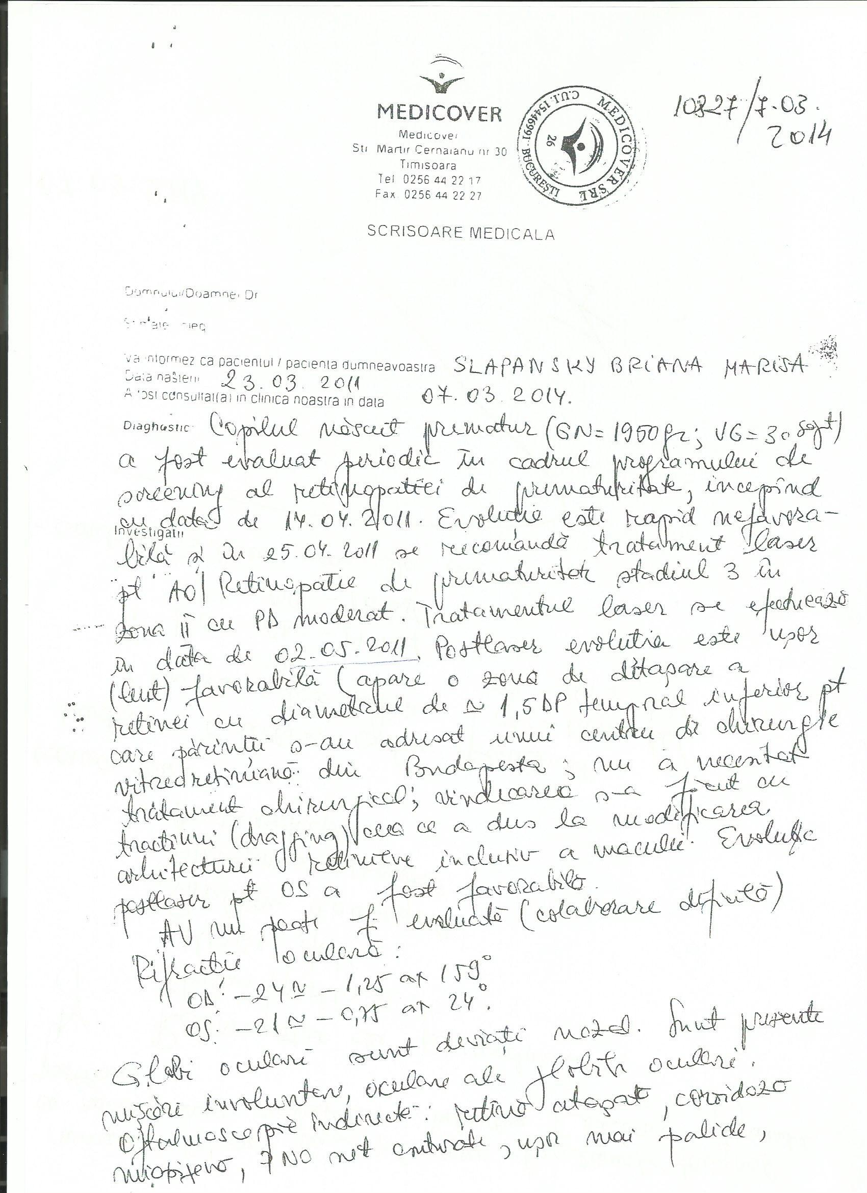 scrisoare medicala oftalmo
