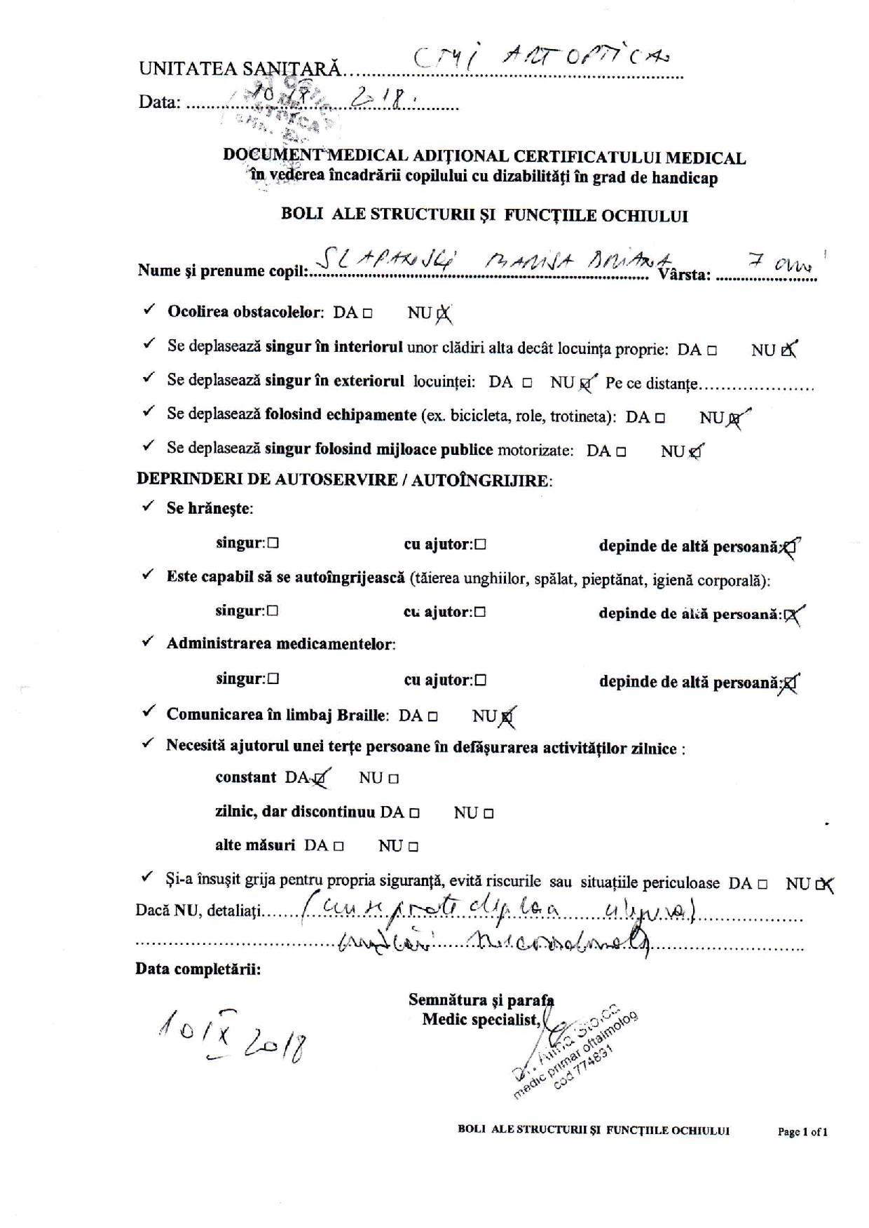 certificat medical oftalmologie